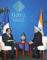 The Prime Minister, Dr. Manmohan Singh meeting the President of France, Mr. Francois Hollande, on the sidelines of the G-20 Summit, at Los Cabos, Mexico on June 19, 2012 (1).jpg