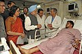 The Prime Minister, Dr. Manmohan Singh meets the bomb blast victims at Yashoda Hospital, in Hyderabad on February 24, 2013. The Chief Minister of Hyderabad, Shri Kiran Kumar Reddy is also seen.jpg