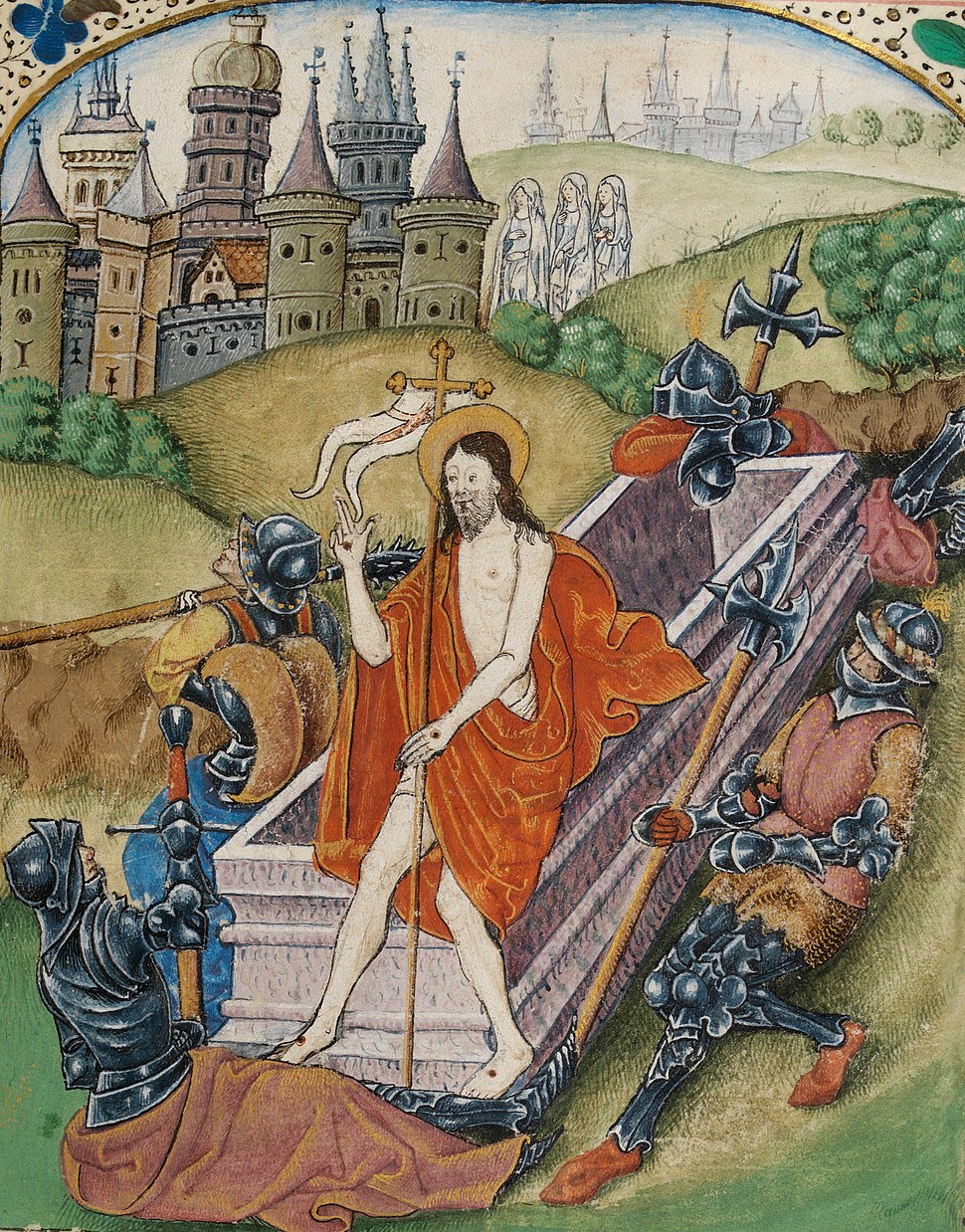 The Resurrection Beaufort arms in border (f. 131) Cropped