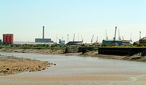 M4 relief road - The River Usk at Newport Docks, close to where the new road would cross the river.  The distant building with the tall chimney is Uskmouth Power Station.