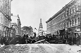 1905 Russian Revolution - A barricade erected by revolutionaries in Moscow during Moscow uprising of 1905