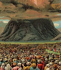 The mass-revelation at the Mount Horeb in an illustration from a Christian Bible card published by the Providence Lithograph Company, 1907