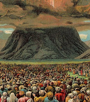 The mass revelation at Mount Horeb in an illustration from a Bible card published by the Providence Lithograph Company, 1907 The Ten Commandments (Bible Card).jpg