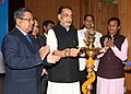 "The Union Minister for Agriculture and Farmers Welfare, Shri Radha Mohan Singh lighting the lamp at the launch of the ""e-pashu haat portal"", in New Delhi.jpg"