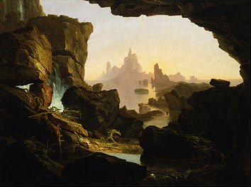 Barren coastal landscape shortly after the Biblical Food as seen through the mouth of a cave on land. Noah's Ark is visible floating in the distance.