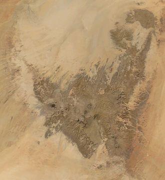 Tibesti Mountains - Satellite image of the Tibesti Mountains