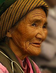 An elderly Tibetan woman