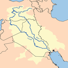 A map of the Tigris and Euphrates rivers, between which the buffer zone is established.