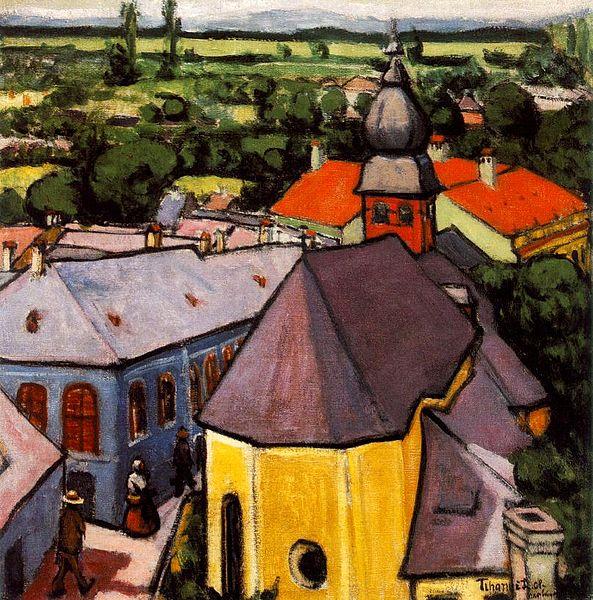 Vue d'une rue à Nagybánya par le peintre Tihaniy à la Galerie Nationale Hongroise