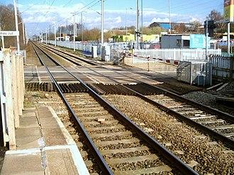 Tile Hill railway station - Image: Tile Hill level crossing, 2004