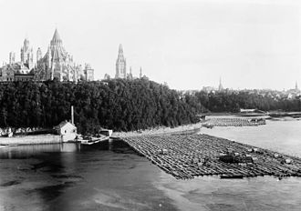 Ottawa River timber trade - Timber rafts by Parliament Buildings, 1882