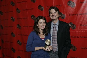 Frazier Moore - Tina Fey (holding a Peabody Award) and Frazier Moore (2008)