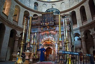 Christian culture - Tomb of Jesus in the Holy Sepulchre church in Jerusalem.