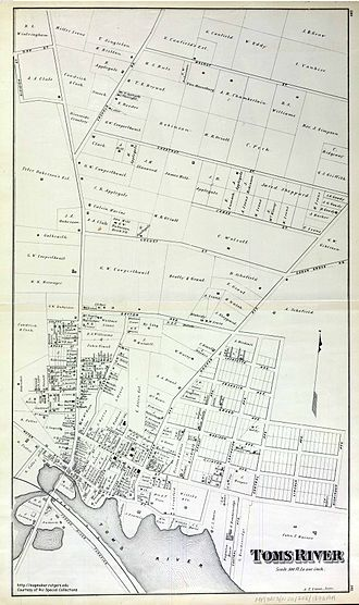 Toms River, New Jersey - Map of Toms River in 1878