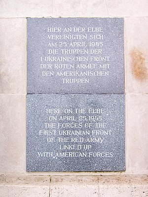 "Line of contact - A commemorative plaque now stands where the ""East Meets West"" moment took place in Torgau on Elbe Day, 1945"