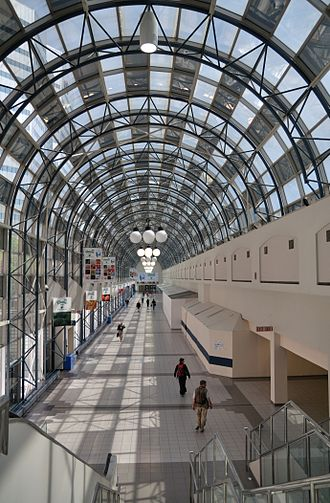 Walkway - The SkyWalk main arcade facing east towards Union Station, Toronto, Ontario, Canada