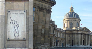 Institut de France - A plaque on the northern wall of the Institut de France shows the ancient location of the Tour de Nesle.