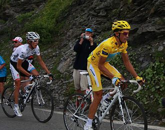 Climbing specialist - Alberto Contador wearing the yellow jersey leading Andy Schleck wearing the White jersey at the 2009 Tour de France.