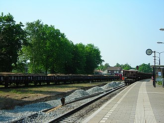 Track ballast - New track ballast is placed at the Boxmeer railway station, The Netherlands.