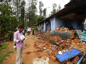 Human–wildlife conflict - Asian elephant damages to houses