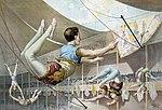 Afiche de circo que muestra a trapecistas usando su típica malla, 1890.