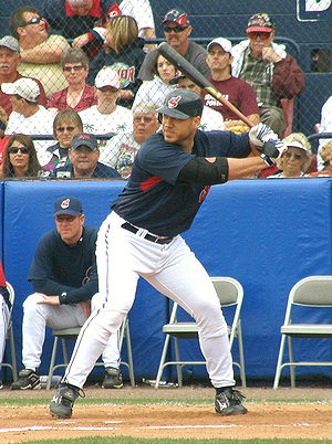 Travis Hafner - Hafner batting for the Cleveland Indians in 2008 spring training