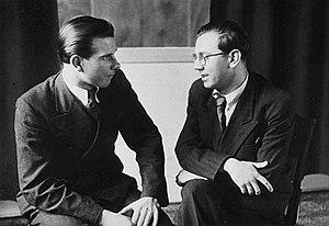 Jiří Traxler - Jiří Traxler (left) and Jaroslav Ježek in Studio Ultraphon on  21 April 1938.