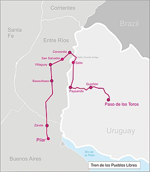 Tren de los Pueblos Libres - Image: Tren pueblos libres map