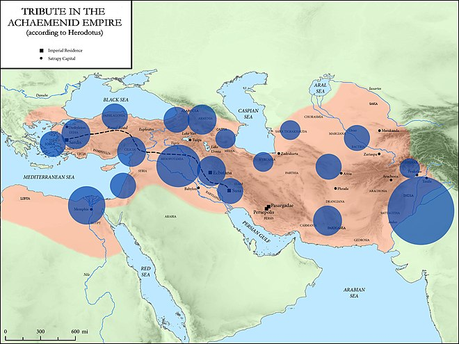 Volume of annual tribute per district, in the Achaemenid Empire, according to Herodotus. Tribute in the Achaemenid Empire.jpg