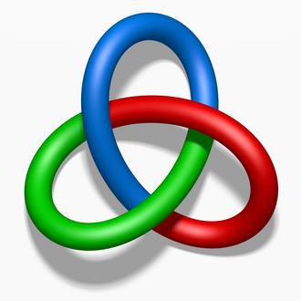Tricolorability - A tricolored trefoil knot.