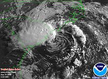 Satellite image of tropical storm near landfall in North Carolina.