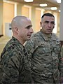 U.S. Marine Corps 1st Sgt. David Marbut, left, the company first sergeant of the Command Element, Black Sea Rotational Force 13, responds to an interpreter during a noncommissioned officer seminar with Georgian 130320-M-ZP546-021.jpg