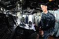 U.S. Navy Seaman Anthony Scott mans the helm aboard the guided missile destroyer USS McCampbell (DDG 85) March 2, 2013, while under way in the Pacific Ocean in support of exercise Foal Eagle 2013 130302-N-TG831-155.jpg