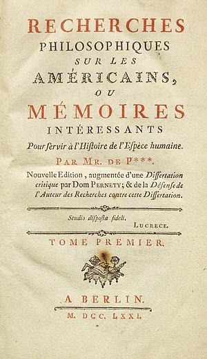 Cornelius de Pauw - Title page of Cornelius de Pauw (1771):  Recherches philosophiques sur les Américains.
