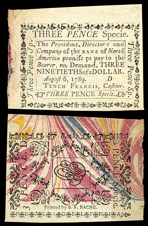 Benjamin Franklin Bache (journalist) - Three pence Bank of North America note printed (1789) by Bache on specialized marbled paper obtained by Benjamin Franklin.