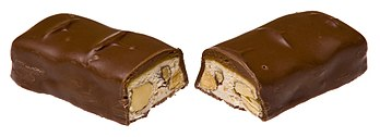 English: A US Mars bar that has been split in ...