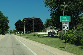 Little America, Illinois - Image: US24 East Little America Sign (41149631860)