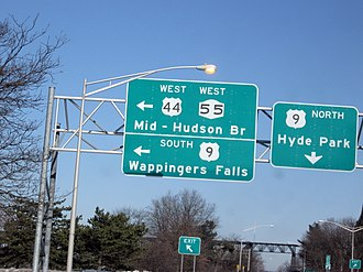 U.S. Route 44 in New York - The exit for US 44 and NY 55 near the Mid-Hudson Bridge from US 9
