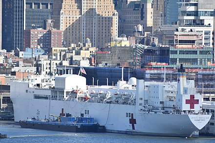 The hospital ship USNS Comfort arrived in Manhattan on 30 March