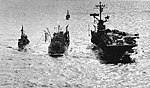 USS Hornet (CVS-12) underway with HMAS Supply (A195) and a destroyer, in July 1967.jpg