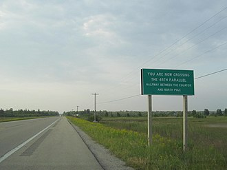 U.S. Route 23 in Michigan - Sign where US 23 crosses the 45th parallel north