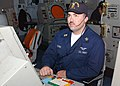 US Navy 030127-N-6653S-001 Air Traffic Controller 1st Class Brian Soper keeps track of incoming and outgoing aircraft on his radar console.jpg