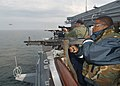 US Navy 030611-N-4374S-003 Crewmembers assigned to the Aegis-class cruiser USS Vella Gulf (CG 72) conduct a small arms fire exercise during the annual maritime exercise Baltic Operations 2003 (BALTOPS 2003).jpg