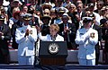 "US Navy 030712-N-4616B-008 USS Ronald Reagan (CVN 76) ship's sponsor and Former First Lady, Nancy Reagan, is greeted by an appreciative audience as she orders the men and women of the USS Ronald Reagan to ""bring th.jpg"