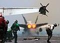 US Navy 050601-N-3241H-055 An F-A-18C Hornet launches from the flight deck of Nimitz-class aircraft carrier Carl Vinson (CVN 70).jpg