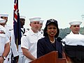 US Navy 060316-N-0000E-001 U.S. Secretary of State Condoleezza Rice speaks to the crew of the guided missile cruiser USS Port Royal (CG 73) during a visit to the ship.jpg