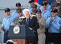 US Navy 060523-N-1085W-087 Vice President Dick Cheney receives a round of applause from the Sailors and Marines assigned to Expeditionary Strike Group One (ESG-1).jpg