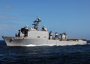 USS Carter Hall approaches USNS Tippecanoe (T-AO-199) for an underway replenishment in the Indian Ocean (Oct. 7, 2007).
