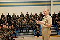 US Navy 080111-N-0981M-006 Chief of Naval Operations (CNO) Adm. Gary Roughead answers questions during an All Hands call with sailors of Naval Construction Battalion Center, Gulfport.jpg