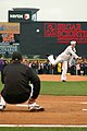 US Navy 090526-N-7975R-012 Operations Specialist 2nd Class Andrew Hahn, assigned to Pre-Commissioning Unit (PCU) New York (LPD-21), throws out the ceremonial first pitch at Frontier Field before a Rochester Red Wings game.jpg